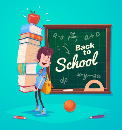 귀여운 학교 아이들. 학교 활동. 다시 학교로 파란색 배경에 고립 된 개체입니다. 학교 책 및 더 많은 것을위한 좋은 그림. 일러스트