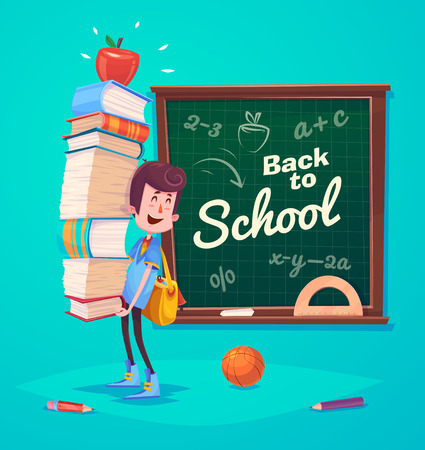 student's: Cute School Children. School activities. Back to School isolated objects on blue background. Great illustration for a school books and more.