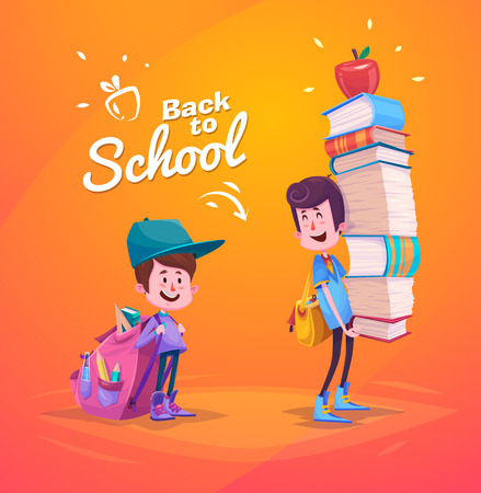 school backpack: Cute School Children. School activities. Back to School isolated objects on yellow background. Great illustration for a school books and more.