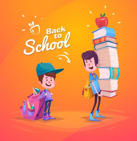 niño con mochila: Escuela Niños lindos. Actividades escolares. Regreso a la escuela aislado objetos sobre fondo amarillo. Gran ejemplo de un par de libros de la escuela y mucho más.