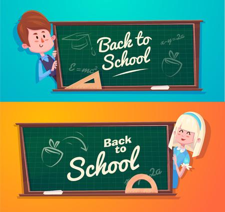 귀여운 학교 어린이. 학교 활동. 다시 학교로 파란색과 노란색 배경에 개체를 격리합니다. 학교 책과 더에 대 한 좋은 그림. 일러스트