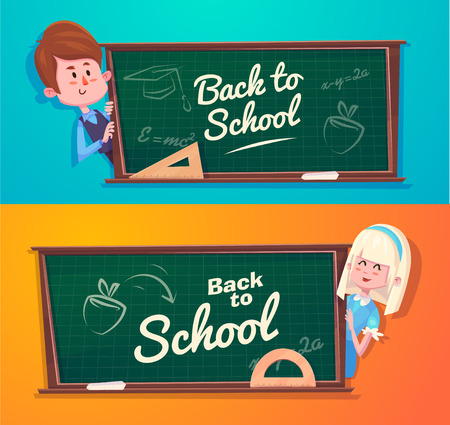Mignon écoliers. Activités scolaires. Retour à l'école isolé objets sur fond bleu et jaune. Grande illustration pour un des livres scolaires et plus. Vecteurs