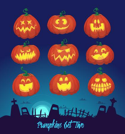 calabaza: Decoración de Halloween conjunto de Jack-o-linterna y antecedentes cementerio. Calabazas diseños con diferentes expresiones faciales Vectores
