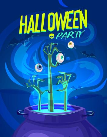 czarownica: Czarownica umacnianie garnek z bronią i oczu. Karta Halloween lub plakat. Ilustracji wektorowych.