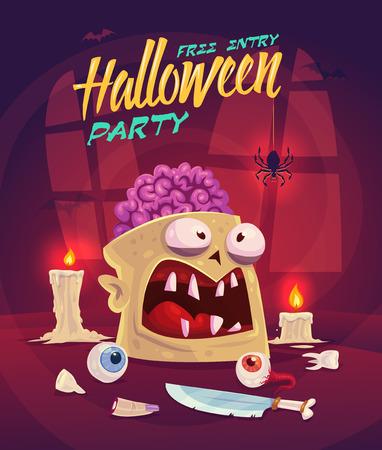 cerebro: Zombi con el cerebro. Conjunto Horror. Halloween de la tarjeta de fondo del cartel. Ilustración del vector.