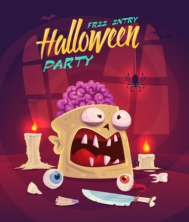 brain: Zombie with brain. Horror set. Halloween poster background card. Vector illustration. Illustration