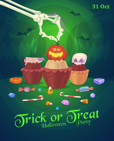 cakes background: Set of colorful halloween sweets, candies icons and cakes with skull and pumpkin Illustration
