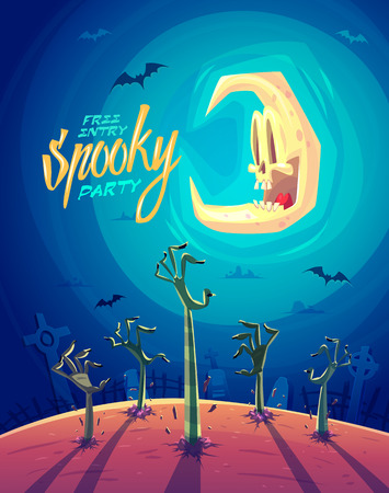halloween tree: Zombie arms. Halloween Zombie Party Poster and funny moon. Vector illustration.