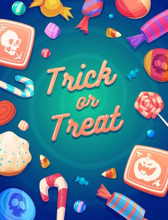 トリックやトリック。カラフルなハロウィーンのお菓子やキャンディーのアイコンのセット  イラスト・ベクター素材