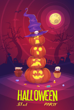 Four Halloween pumpkins with hat on Moon background. Vector illustration.