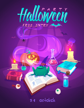 cartoon halloween: Magic book with smiling frog . Helloween cardposter. Vector illustration. Illustration