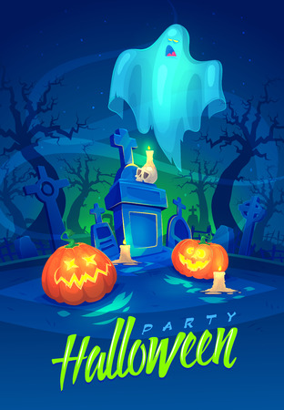 spooky graveyard: Spooky graveyard with a ghost and pumpkins. Halloween cardposter. Vector illustration.
