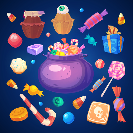 calabazas de halloween: Feliz Halloween. Conjunto de dulces de colores de Halloween y dulces iconos