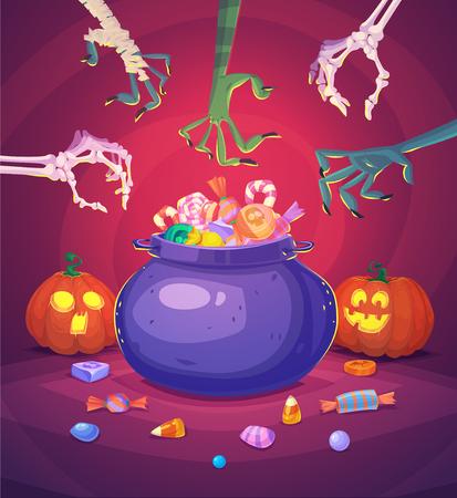 treats: Truco o trato. Halloween de la tarjeta de fondo del cartel. Ilustración del vector.