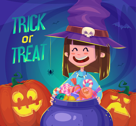 halloween poster: Little cute witch. Halloween poster background card. Vector illustration. Illustration