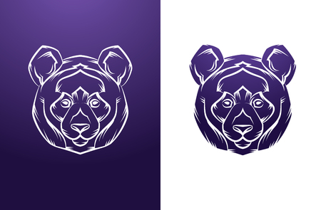 panda bear: Panda Head Vintage label. Retro vector design graphic element. This is vector illustration ideal for a mascot and tattoo or T-shirt graphic.