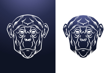 for design: Monkey Head Vintage label. Retro vector design graphic element. This is vector illustration ideal for a mascot and tattoo or T-shirt graphic. Illustration