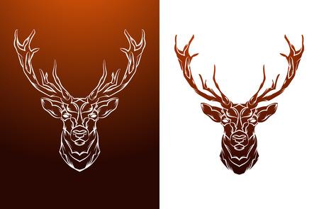 cuernos: Etiqueta principal de los ciervos de la vendimia. Diseño retro del vector elemento gráfico. Esta es la ilustración vectorial ideal para una mascota y el tatuaje o una camiseta gráfica. Vectores