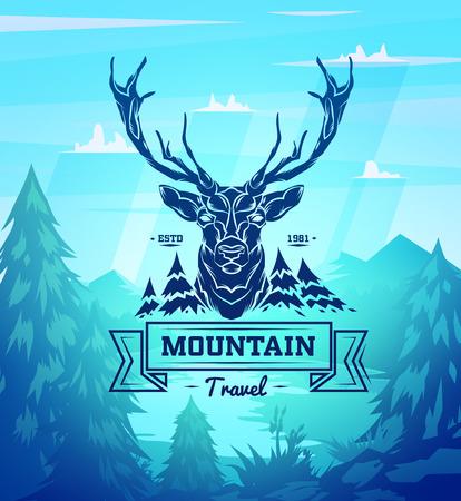 빈티지 사슴 레이블. 레트로 벡터 디자인 그래픽 요소, 디자인이나 포스터. 나무 배경. 헌터 숲 배경입니다. 일러스트