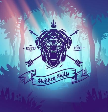 Vintage monkey labels. Retro vector design graphic element,  for your design or poster. Wood background. Hunter woods background.