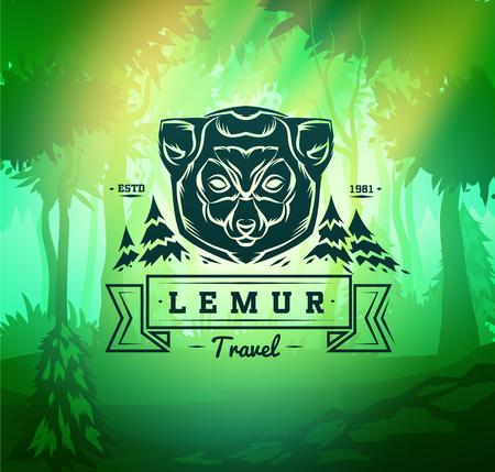 tailed: Vintage lemur labels. Retro vector design graphic element,  for your design or poster. Wood background. Hunter woods background.