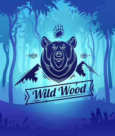Vintage bear labels. Retro vector design graphic element,  for your design or poster. Wood background. Hunter woods background.
