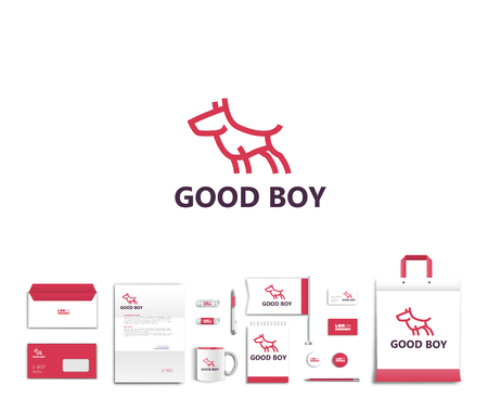 White corporate id template design with cute dog  logo. Documentation for business. Eps 10