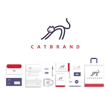 White corporate id template design with cute cat  logo. Documentation for business. Eps 10