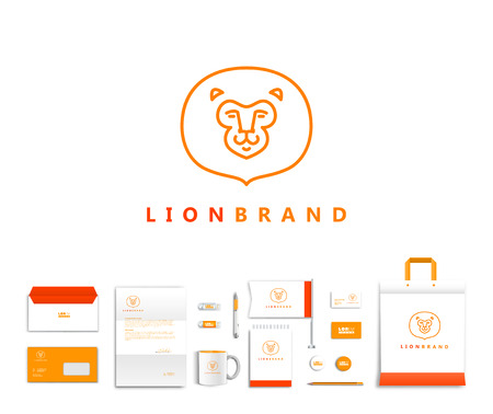 pen icon: White corporate id template design with cute lion  logo. Documentation for business. Eps 10