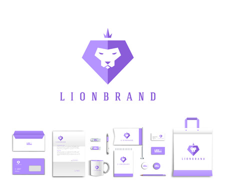 lion roar: White corporate id template design with cute lion  logo. Documentation for business. Eps 10