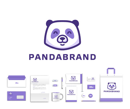 White corporate id template design with cute panda  logo. Documentation for business. Eps 10 向量圖像