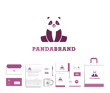 White corporate id template design with cute panda  logo. Documentation for business. Eps 10 Ilustracja