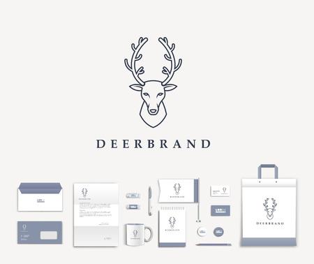 cabeza: Diseño de la plantilla Identificación corporativa blanca con el logotipo lindo ciervo. Documentación para los negocios. Eps 10 Vectores