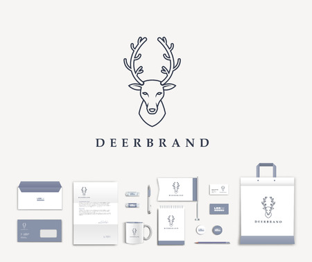 head icon: White corporate id template design with cute deer  logo. Documentation for business. Eps 10