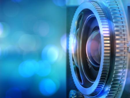 오래 된 카메라 렌즈의 사진을 닫습니다. 이미지는 복고풍 필터링됩니다. 선택적 초점. 3d 렌더링