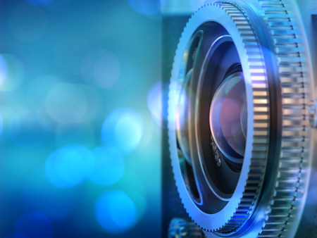 Close up photo of old camera lens . image is retro filtered. selective focus. 3d render Archivio Fotografico