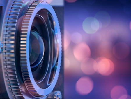 manuals: Close up photo of old camera lens . image is retro filtered. selective focus. 3d render Stock Photo
