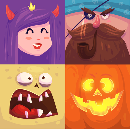cute: Cartoon monster faces vector set. Cute square avatars and icons