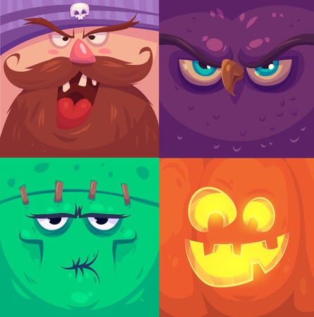 viso uomo: Monster cartoon affronta insieme vettoriale. Avatar quadrati svegli e icone