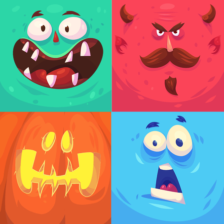 cartoon vampire: Cartoon monster faces vector set. Cute square avatars and icons