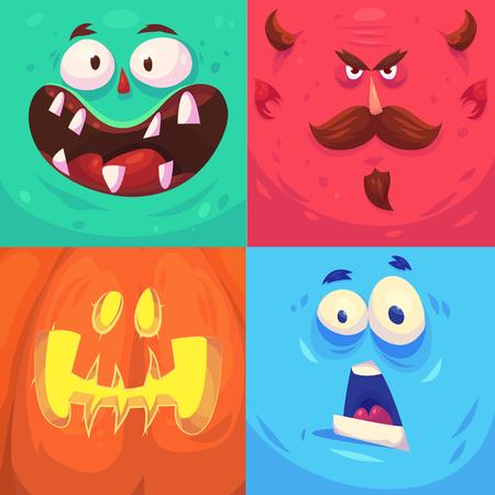 mouth: Monstruo de la historieta se enfrenta conjunto de vectores. Avatares cuadrados lindos e iconos