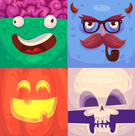 skeleton cartoon: Cartoon monster faces vector set. Cute square avatars and icons