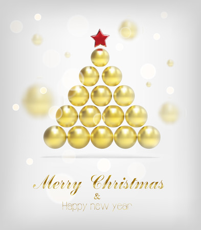 gold tree: Holidays. Gold tree merry christmas - new year . Eps 10 Illustration