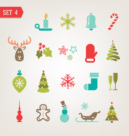 christmas gifts: Christmas retro icons, logo, elements and illustrations Illustration