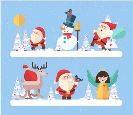 angel tree: Merry christmas. vector winter background.