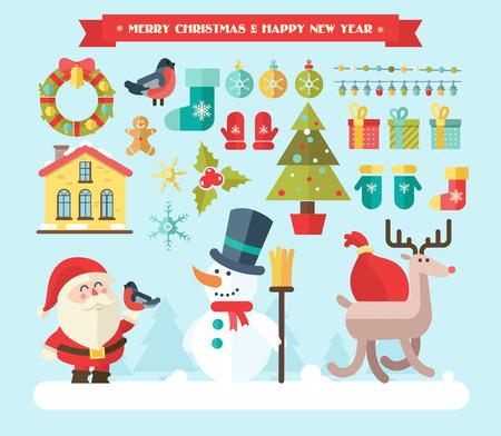 メリー クリスマス。ベクター冬アイコンおよび要素  イラスト・ベクター素材