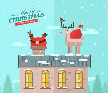 메리 크리스마스. 벡터 겨울 배경입니다. 지붕에 산타