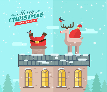 santa funny: Merry christmas. vector winter background. Santa on the roof