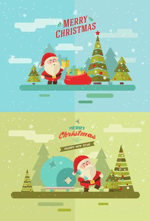 메리 크리스마스. 벡터 겨울 배경입니다. 산타 세트 스톡 콘텐츠 - 46453282