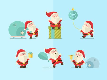 pere noel: Joyeux Noël. vecteur fond l'hiver. Santas fixés Illustration
